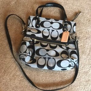 Black and grey/silver Coach purse